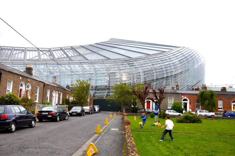 A residential street next to the Aviva.