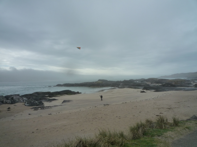 Flying a kite on