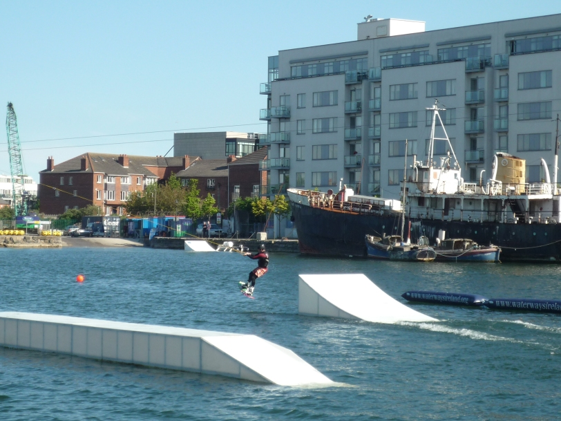 Water-skiing on the canal.