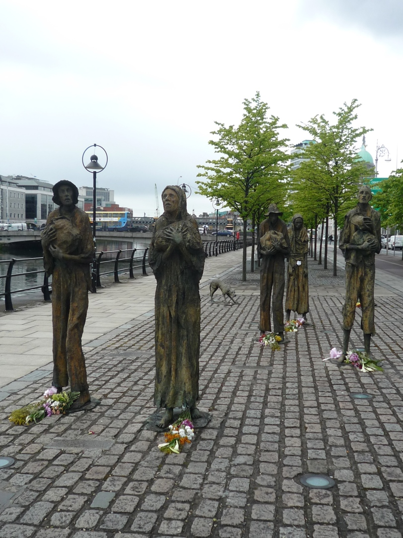 Statues along the river Liffey