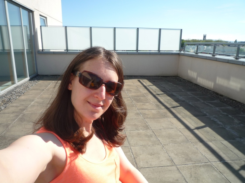Catching some sun on the huge terrace.