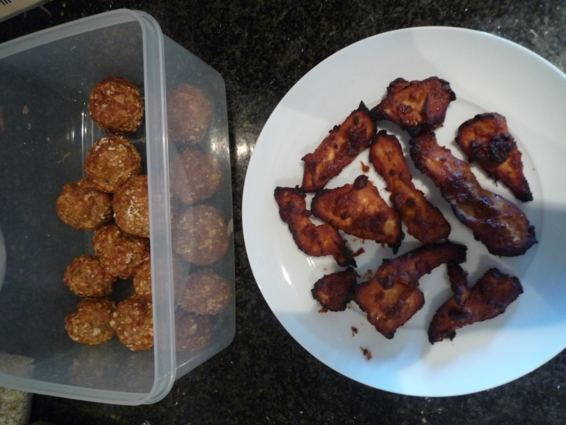 An afternoon cooking turkey balls & miso chicken.
