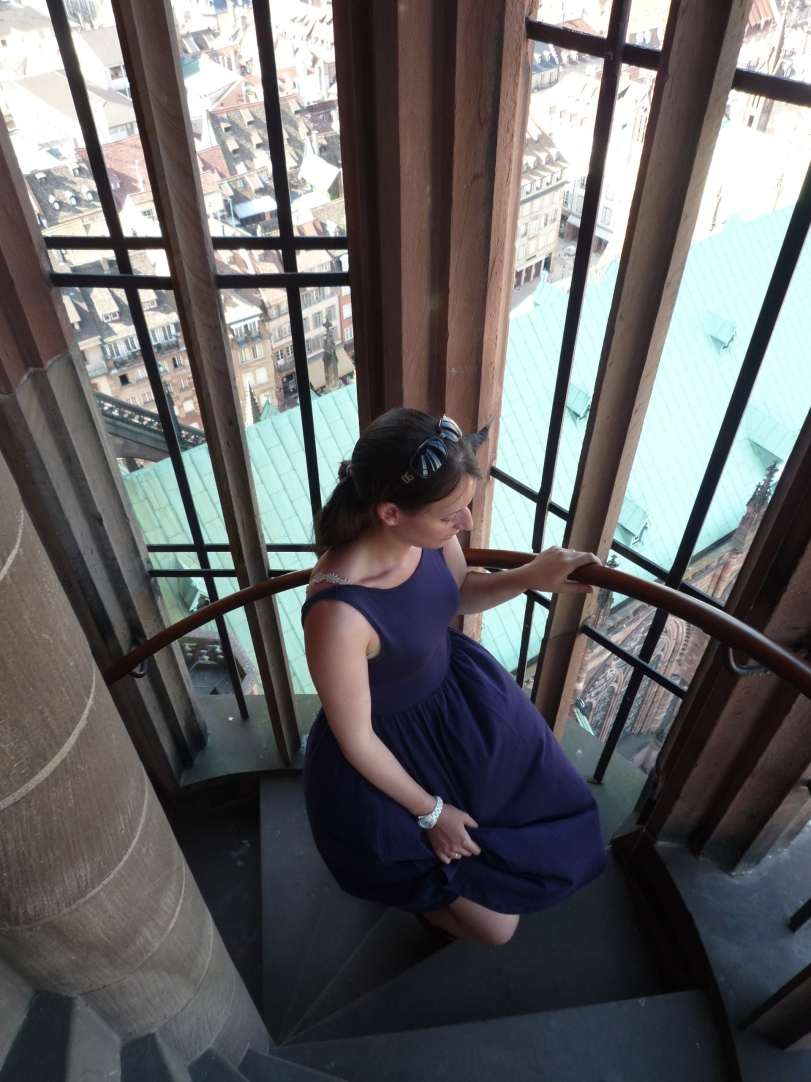 Climbing the stairs to the top of the tower.