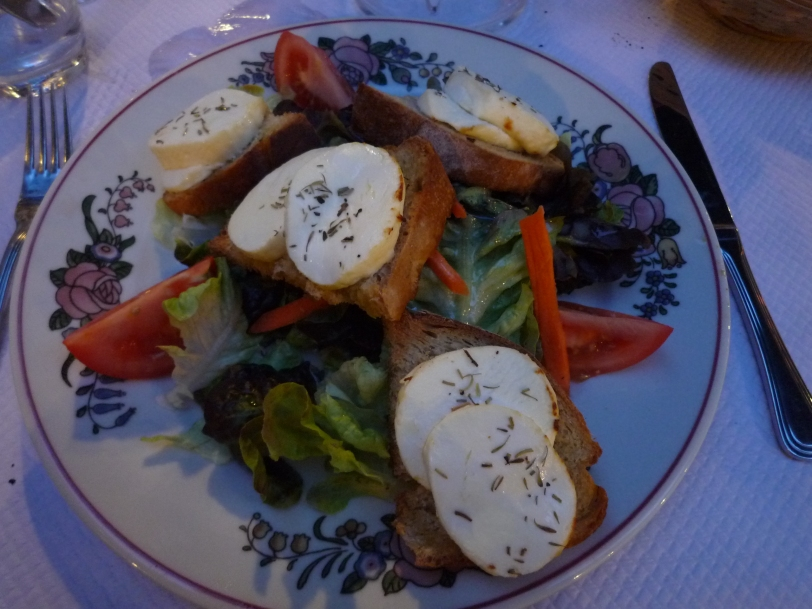 This salad may look simple but it was the best goats cheese salad I have ever had!