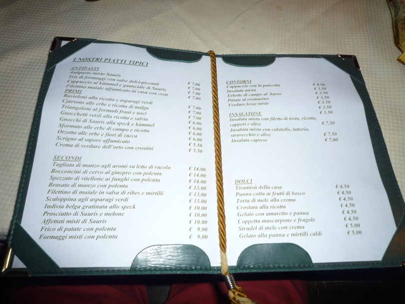 The menu I couldn't read.
