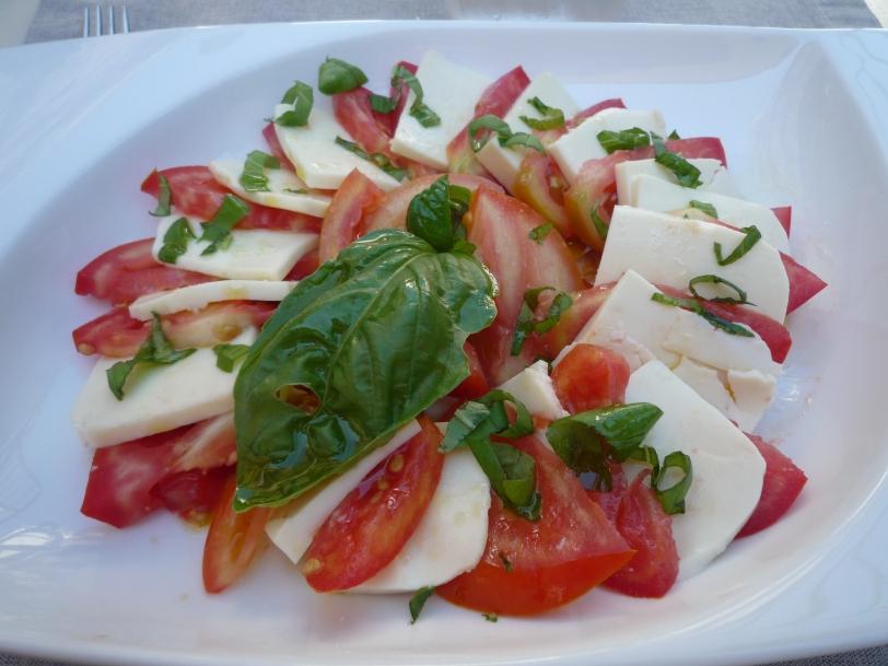 Delicious mozzarella and tomato salad.