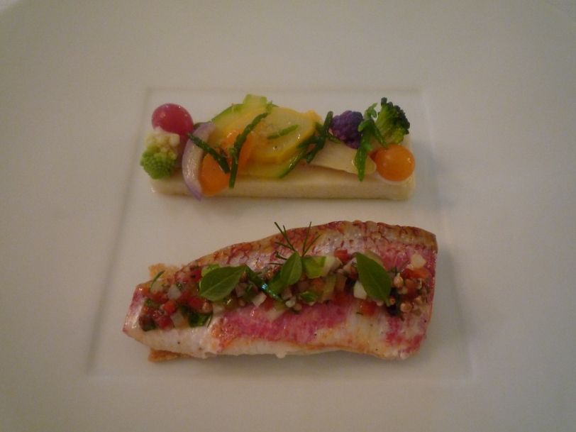 Red snapper with pickled vegetables.