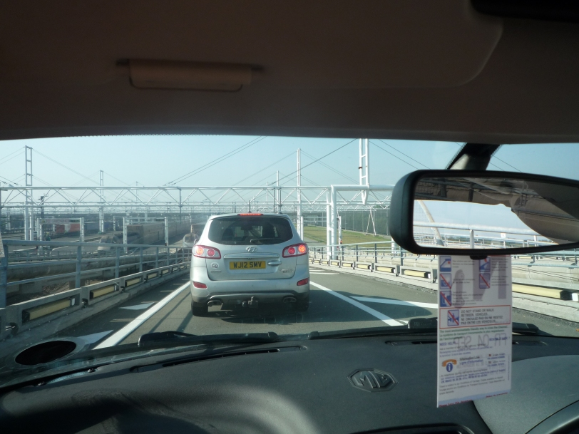 Getting on the eurotunnel back to England.