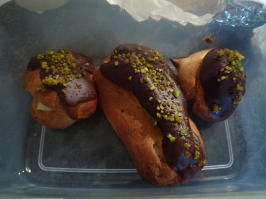 Eclairs and profiteroles.