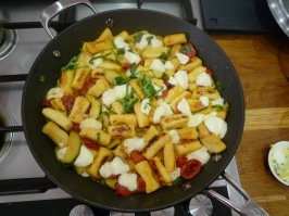 Pichet recipe - gnocci with courgette, mozzarella & garlic butter.