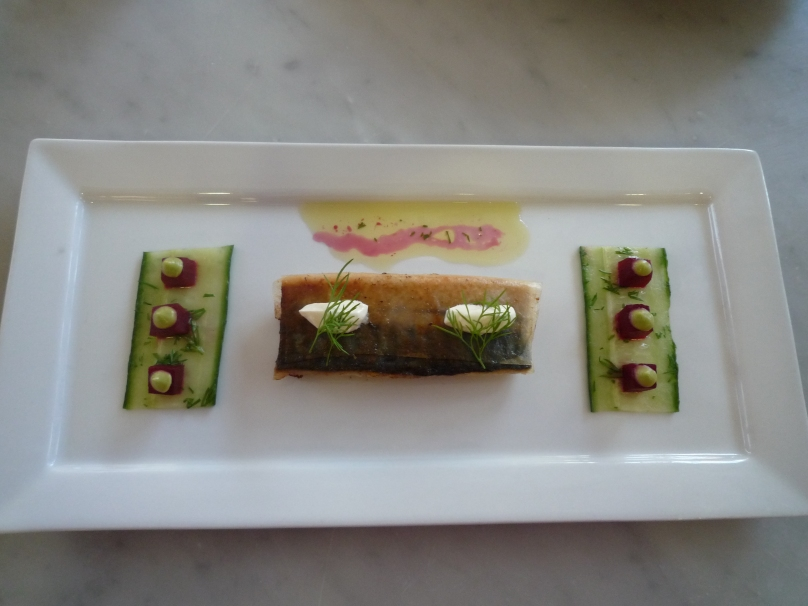 Pichet Recipe - Brick pastry covered mackerel with horseradish, pickled cucumber, beetroot and avocado puree.