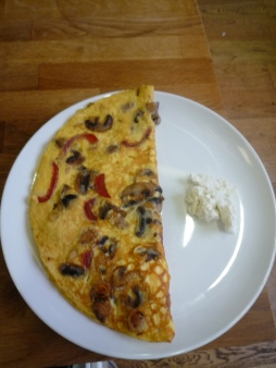 Rustled up an omelette for lunch.
