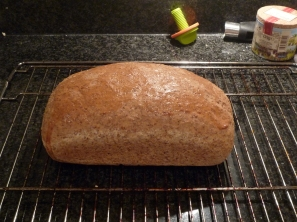 Finished wholemeal bread loaf.