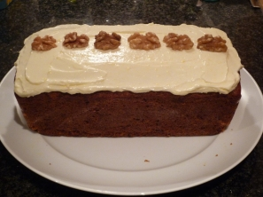 Carrot cake all finished! Looks yummy!