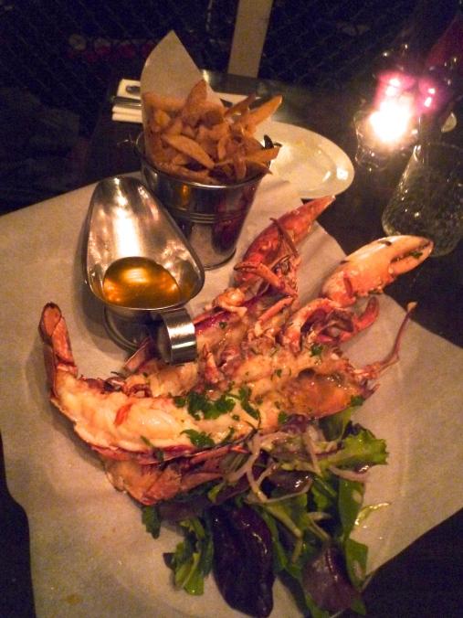 Split whole lobster.