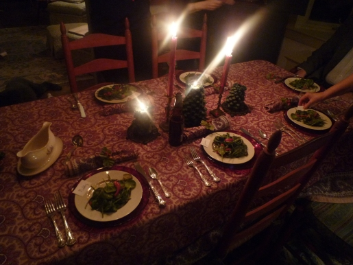 J's beautiful table set for New Years eve dinner.