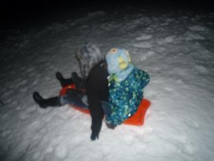 Sisterly sledding!