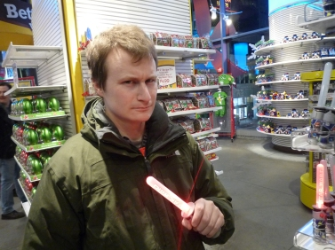 He finally got a light sabre!